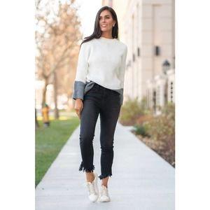 Judy Blue Fringe Hem Skinny Fit Jeans Black 32